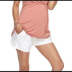 White eyelet maternity shorts - full belly panel